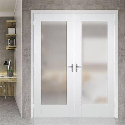 pattern  full pane white primed door pair obscure glass