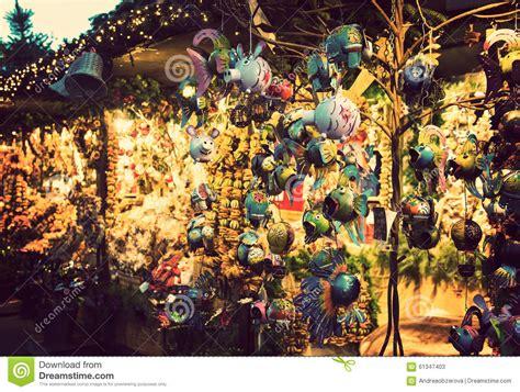 illuminated christmas fair kiosk with loads of shining