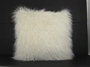 mongolin white fur pillow home home decor pillows