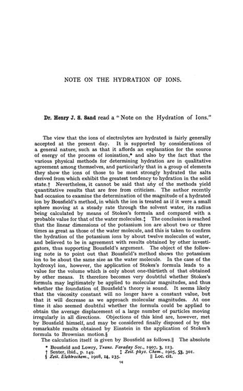 hydration notes note on the hydration of ions transactions of the