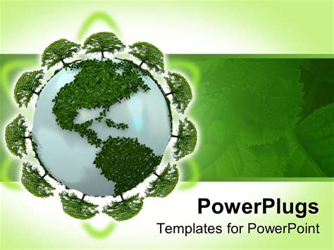 ppt templates free download green earth powerpoint template earth globe covered in green plants
