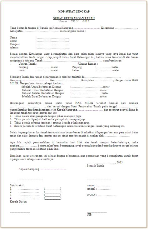 contoh format surat keterangan riwayat tanah contoh surat keterangan tanah skt