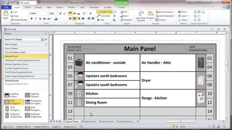 circuit directory template creating a residential electrical panel directory in visio