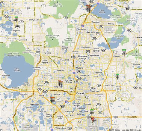 printable orlando area map orlando disc golf courses