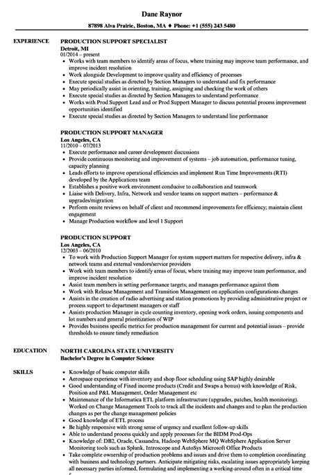 production support resume sles velvet