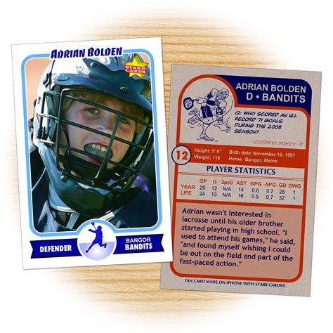 lacrosse player card template custom lacrosse cards retro 75 series cards