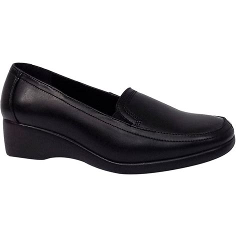 heavenly womens wedge casual leather shoes in black
