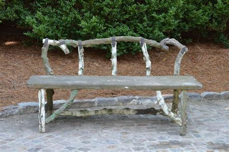 faux stone bench antique french stone faux bois bench for sale at 1stdibs
