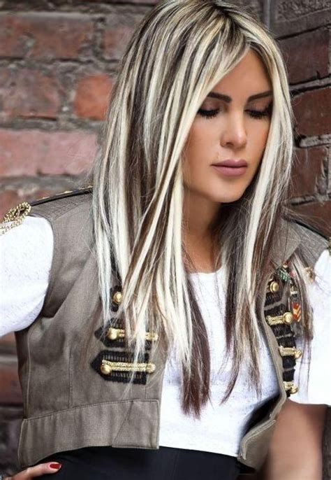 images of ladies blonde streaked hairstyles dark brown hair with white blonde streaks fashion trends