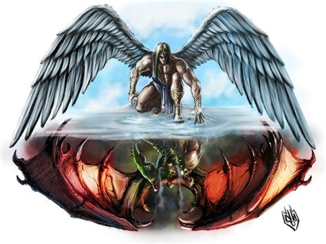 tattoo angel vs demon angel vs devil tattoos angel wings and demon wings on