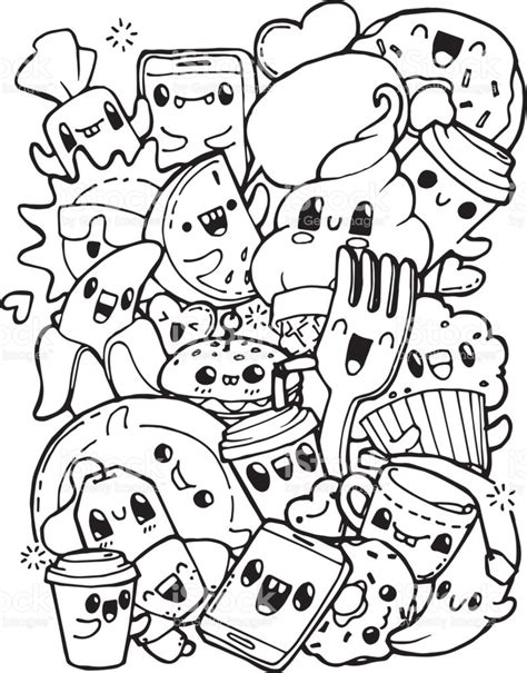 hard coloring pages cute food coloring pages dining doodles breakfast lunch dinner food coloring pages