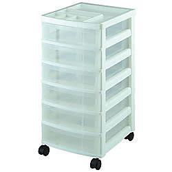 iris 6 drawer cart iris 6 drawer mini storage cart whiteclear plastic by