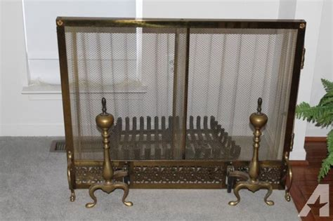 vintage antique brass fireplace screen and andirons for