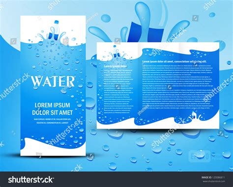 brochure folder water aqua splash bottle element design