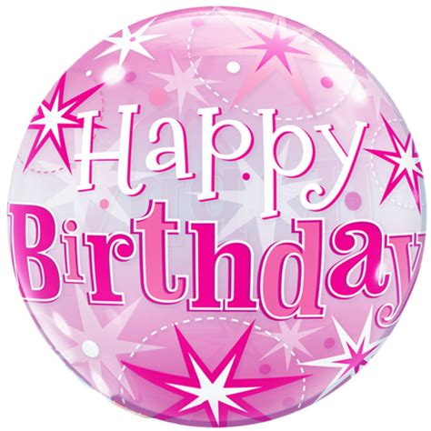 22 happy birthday pink sparkly bubble balloon 11181 p png