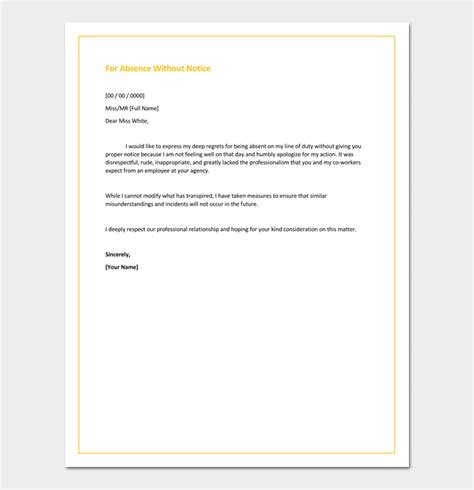 Formal Apology Letter For Absence how to write letter of apology for absent without notice