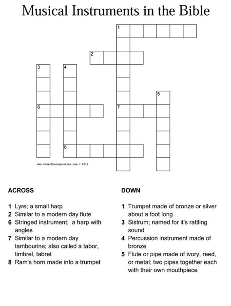 musical instruments crossword puzzle worksheet answers musical instruments in the bible crossword with answer sheet and puzzles