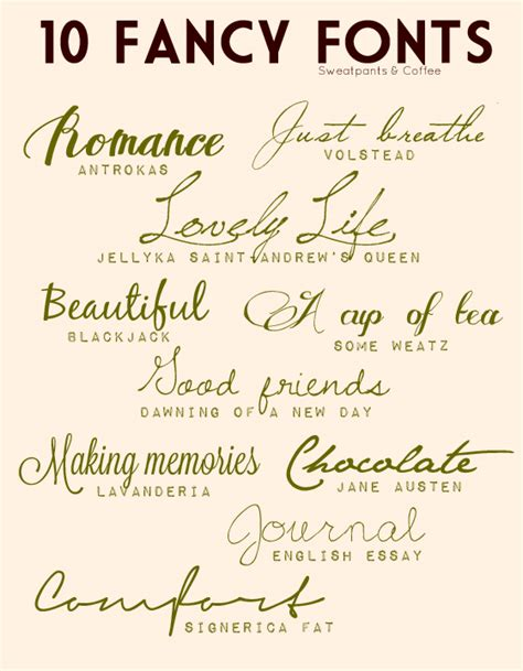 creative lifestyles 10 fancy fonts