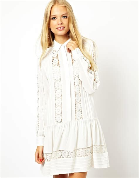 white swing dress lyst asos swing dress with lace inserts in white