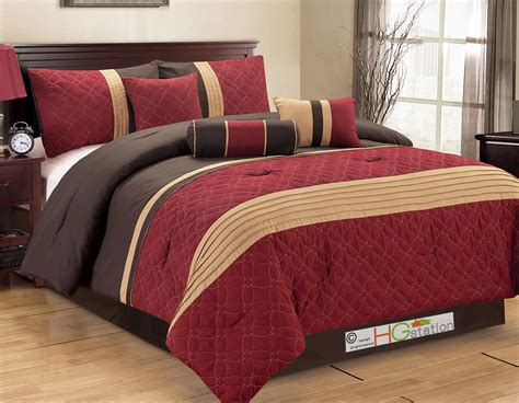 7 pc quilted geometric medallion pleated comforter set