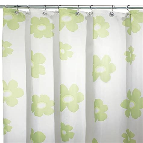 108 x 72 fabric shower curtain interdesign 174 green poppy 108 inch x 72 inch fabric shower