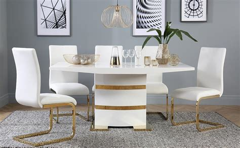 gold table l komoro white high gloss and gold dining table with 6 perth