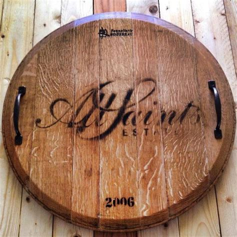 french american oak rustic wine barrel top lazy susan