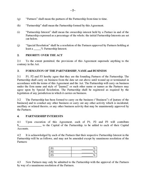 partnership agreement template ontario 28 images