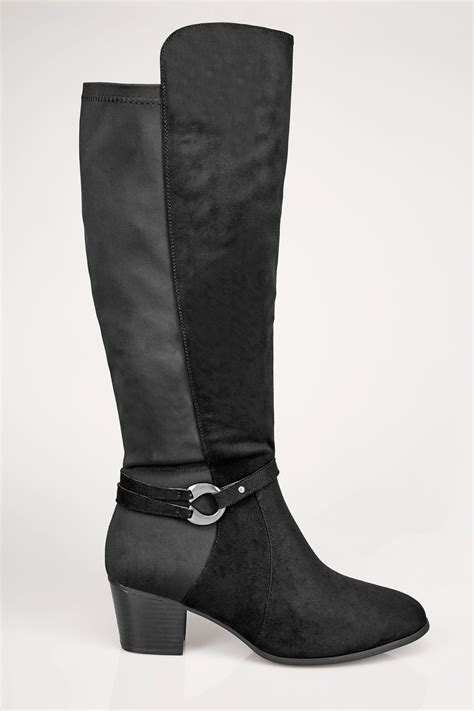 Check Balance Boots Gift Card - black knee high stretch heeled boots with buckle strap in true eee fit size 4eee to 10eee