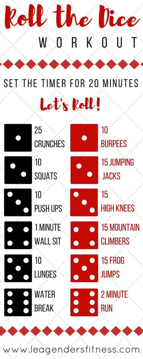 printable exercise dice roll the dice workout and giveaway lea genders fitness