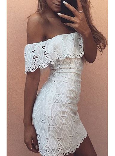 The Shoulder Lace Dress White white lace shoulder mini dress white