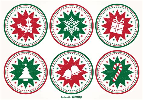 distressed style christmas stamp set   vectors clipart graphics vector art