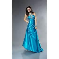 Ling halter top beading draped royal blue silk like satin long prom