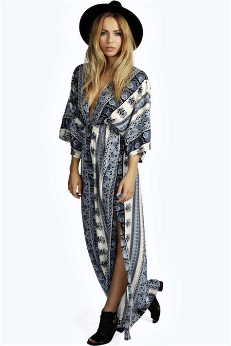 Kimono Maxy scarf print kimono sleeve maxi dress from boohoo