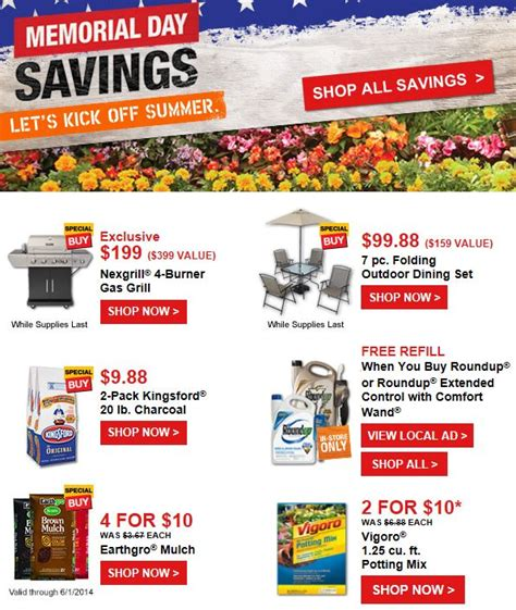 home depot memorial day savings 40 lbs kingsford