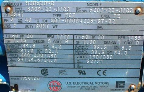 induction motor nameplate details us electrical motors ac induction motor 20hp 1770 rpm and 1455 rpm dual cycle