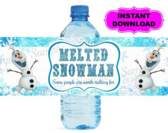 olaf printable water bottle water bottle label instant download printable digital