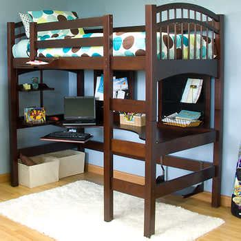 costco loft bed mckenzie twin study loft bed brown