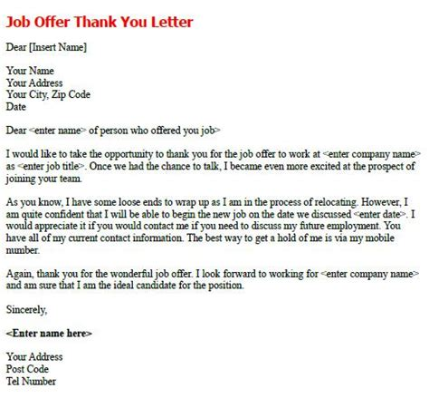 Employment Offer Thank You Letter Offer Thank You Letter Forums Learnist Org