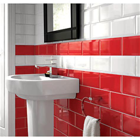wickes bathroom wall tiles wickes bevelled edge red gloss ceramic wall tile 200x100mm
