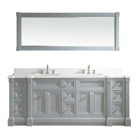 84 inch Gray Finish Double Sink Bathroom Vanity Cabinet