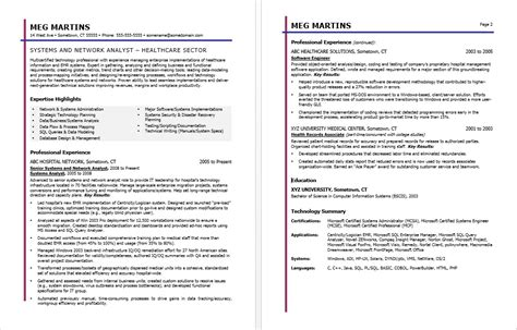 Business Resume Advice Healthcare It Resume Sle