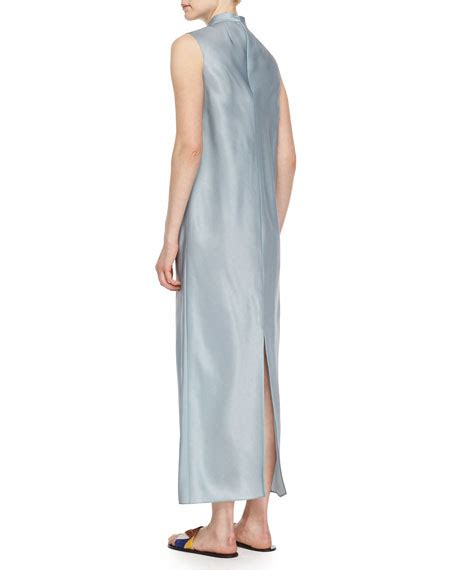 Segi 4 Rubiah Linen Organza Ori the row mock neck sleeveless organza dress neiman