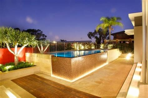 pool deck lighting ideas above ground pool decks 40 modern garden swimming pool