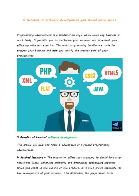 Benefits Of You Should About by Ppt 5 Benefits Of Software Development You Should