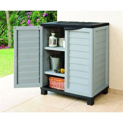 Starplast Outdoor Double Door Storage Cabinet With 2 Outdoor Storage Shelves