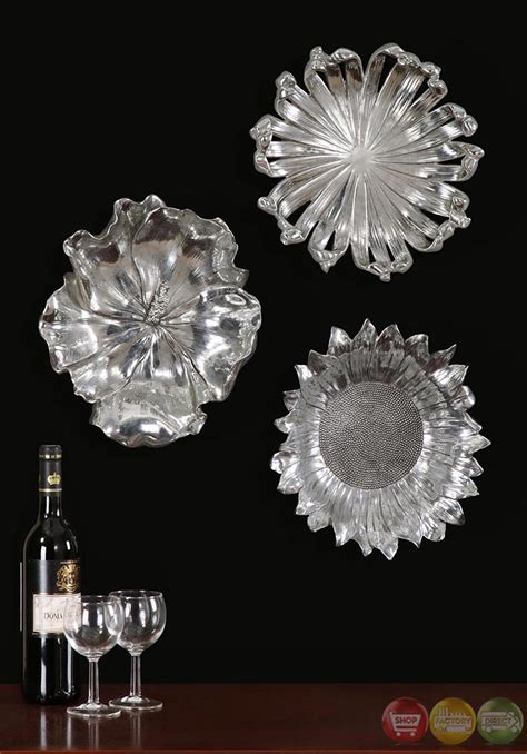 Flower Set 3 set of 3 silver flowers contemporary silver plated flower designs wall 08503