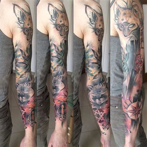 watercolor animal tattoo sleeve sleeve animal sleeve best ideas