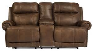 brown reclining loveseat austere brown reclining loveseat with console from