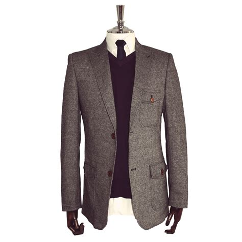 grey classic tweed blazer for sale from victor valentine